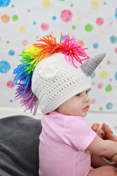 Crocheted Rainbow Unicorn Hat in Baby Infant by MiniToppers Rainbow Baby, Rainbow Unicorn, Unicorn Baby Outfit, Unicorn Baby Clothes, Easter Gift Baskets, Basket Gift, Unicorns And Mermaids, Unicorn Crafts, Trendy Baby Clothes