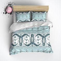Light Blue and Teal Cattle Skull Fair Isle Pattern Duvet Bedding Sets