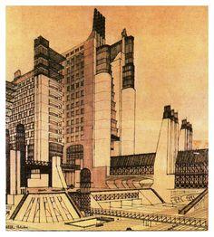 Futurist Architect Antonio Sant'Elia Inspired Blade Runner and Metropolis Movement In Architecture, Architecture 101, Architecture Drawings, Futuristic Architecture, Antonio Sant Elia, Futurism Art, Retro Futurism, Blade Runner, Citation Art