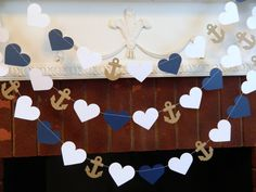 Wedding Garland / 10ft Anchors and Heart Garland / Navy and White Beach wedding Decor / Nautical Bridal Shower Decor / your color choice by anyoccasionbanners on Etsy