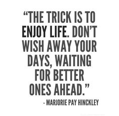 The trick is to enjoy life. Don't wish away your days, waiting for better ones ahead. - Majorie Pay Hinckley