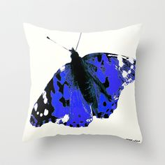 Butterfly #2 Blue and White Throw Pillow by Saundra Myles - $20.00