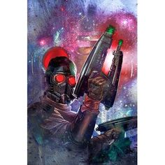 East Urban Home Marvel Comics Starlord Galaxy Collage Graphic Art on Canvas Size: