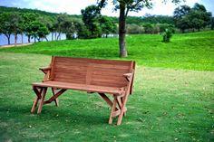 Teakholz Picknicktisch auch als Bank!