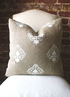 "White Medallion - Hand printed in India on Natural Linen - Pillow Cover size 20""x20"""