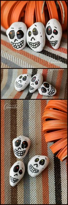 Paint some easy skull rocks for Halloween! Great for a Halloween party. Pre-paint the rocks and have kids make the skull faces with markers!