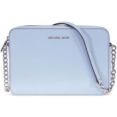 Michael Kors Jet Set Travel Large Crossbody Bag- Pale Blue (360 PEN) ❤ liked on Polyvore featuring bags, handbags, shoulder bags, purses crossbody, shoulder handbags, leather crossbody purse, michael kors crossbody and crossbody travel purse