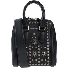 Alexander Mcqueen Handbag ($1,850) ❤ liked on Polyvore featuring bags, handbags, black, leather purses, handbag purse, satchel handbags, purse satchel and hand bags