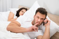 Man Talking Privately On Cellphone While His Wife Sleeping On Bed , Fake Relationship, 8th Sign, Betrayal, Breakup, Letting Go, Literature, Like4like, Couple Photos, Blog