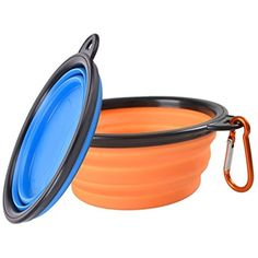 Geekercity 2 Pack Collapsible Dog Bowl, Food Grade Silicone, Foldable Expandable Cup Dish for Medium and Large Size Pets Cat Food Water Feeding Portable Travel Bowl With Carabiner (Blue & Orange) -- Do you want additional info? Click on the image. (This is an affiliate link and I receive a commission for the sales)