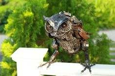 Metal sculpture Owl unique metal art decor home by Mari9art