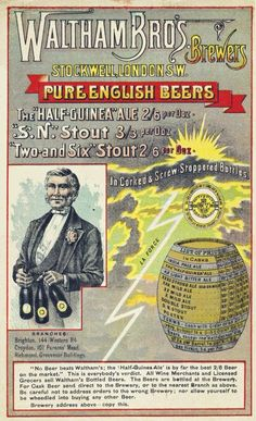 Lovely Glossy Print Advertising The 'Waltham Brothers - Pure English Beers' 1886 - Vintage Product Ad Vintage Advertisements, Vintage Ads, English Beer, Old Ale, Beer History, British Beer, India, Light Beer, Print Advertising