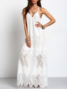 Long Boho White Cream Deep V Neck Split Slip Maxi Dress