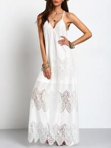 423916b48e A beautiful white boho maxi dress for summer days. We love the delicate  slit cut