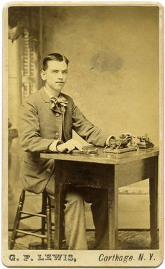 ca. 1880-90's, [carte de visite portrait of a telegrapher], G. F. Lewis via Macrafly, Historic Curated Photography
