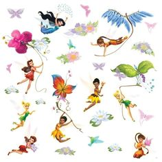 Disney Fairies With Glitter Wings Wall Decal. www.teeliesfairygarden.com . . . Enchanting wall decal of the Disney Fairies are great for little girls. #fairydecal