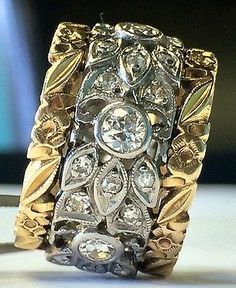 Vintage Women's Cigar Band Diamond Vine Flower Rings 14K White & Yellow.  To die for.