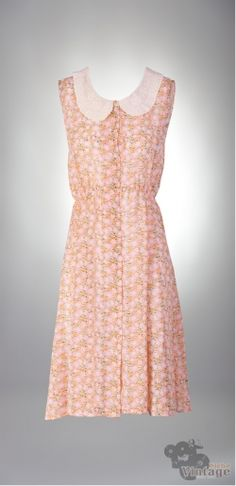 Vintage-Recicled 70´s Salmon Flowers - Bichovintage - Vintage & Retro & Recycled - Clothing and Accesories - Online Store
