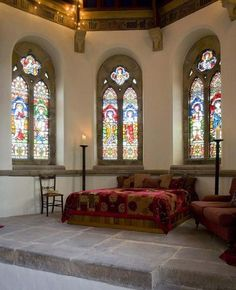 """Way to """"old-school church"""" for me, but again, the flooring, window frames and ceiling make a great base.  In this case, would feel like I was sleeping in an altar in a scary movie. Idea for Ruined Georgian Unique Church Design Become Dream Home Living ..."""