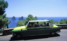 Need to know how to get around the Island of Capri? Here's all the information you need for exploring this Italian island by bus, funicular, taxis and chairlift. Beach Cars, Taxi, Fiat, Classic Cars, Automobile, Marketing, Vehicles, Image, Design
