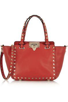 valentino the rockstud mini leather tote