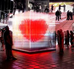 Valentines's BIG Heart Sculpture ~ NYC. When anybody touches this lovely heart designed by architectural firm BiG begins to beat like a real one and if someone holds hands and kisses it this 10-feet masterpiece of innovation starts glowing brighter and beats faster.