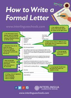 Hola: Una infografía sobre Aprende inglés: cómo escribir una carta formal. Vía Un saludo