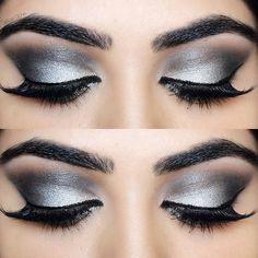 Eye makeup. SIlver Eye Makeup. Colourpop Cosmetics Supershock Eyeshadow in Liberty. Huda Beauty Scarlett Lashes. Makeup Tutorial