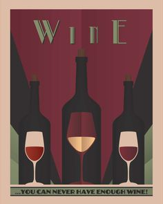 26bac95df Art Deco Poster Wine Prints Kitchen Prints by NordicDesignHouse Cafe Posters