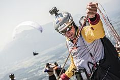 Christian Maurer of Switzerland preparing to take off at turnpoint one of the Red Bull X-Alps 2015, Gaisberg, Salzburg, Austria on July 5 2015. // Sebastian Marko/Red Bull Content Pool.