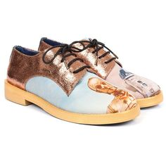 Irregular Choice Rose Gold Star Wars Droids Shoes (£115) ❤ liked on Polyvore featuring shoes, flats, nude, lace up shoes, laced up shoes, flat pumps, metallic flats and flat shoes