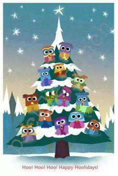 Items similar to Owl Christmas Card / Owl Card / Owls Holiday Card / Woodland Christmas Card on Etsy Owl Christmas Tree, Woodland Christmas, Noel Christmas, Vintage Christmas, Christmas Crafts, Owl Card, Owl Crafts, Cute Owl, Christmas Illustration