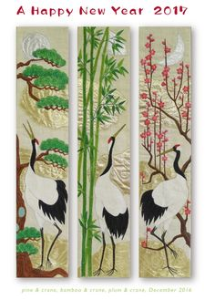 """hanging """"shochikubai (pine-bamboo-plum) & crane"""" needlework art Ⓒ Nagako Ono HAPPa_Ya #art #plants #hanging #crane #松竹梅 #鶴"""
