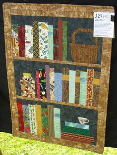 Bookshelf quilt.  A small, simple one for a class sample