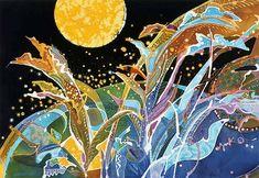Japanese Embroidery Silk Indonesian batik (painting on silk) by Japanese artist Yuko Nakata Japanese Embroidery, Embroidery Art, Embroidery Patterns, Wax Art, Batik Art, Silk Art, Japanese Artists, Fabric Painting, Stone Painting