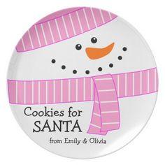 Happy Girl Snowman Cookies for Santa Plate #christmas #santaplate