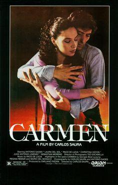 Carmen, Carlos Saura's epic flamenco film version of classic Carmen, Antonio Gades, Laura del Sol Flamenco Dancers, Belly Dancers, Carmen Movie, Dance Movies, Movies Worth Watching, Ballet, Original Movie Posters, Cinema Posters, Portraits