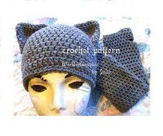 crochet pattern digital download kitty ears and fingerless gloves