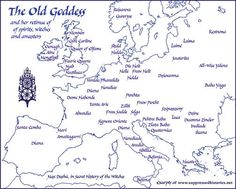 Map of Europe with names of folk Goddesses. The Old Goddess (both as crone and in her Pagan antiquity) according to European folk traditions: she who flies the skies on the Ember Nights, on Samhain and other holydays of ancient ethnic tradition. - Pinned by The Mystic's Emporium on Etsy