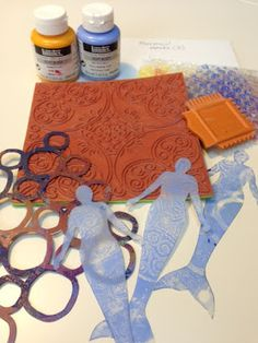 These are the tools that I used to make the mermaid print. Notice that I don't wash my stencils or masks! (grin)