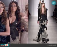 Emily's black and white gown on Pretty Little Liars.  Outfit Details: http://wornontv.net/50895/ #PLL