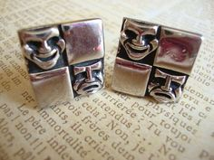 Vintage Comedy and Tragedy Masks Cuff Links via Etsy