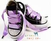 Infant, Toddler Baby Girl High Top Black Converse Chuck Taylor's With Purple Ribbon Laces & Swarovski Crystal Rhinestones