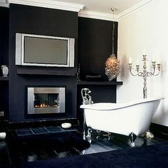 images of gas fireplaces in bathrooms | lotions all displayed in beautiful glass jars and pots along the top ...