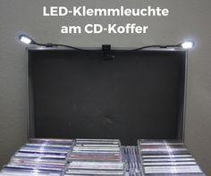 LED-Klemmleuchte am CD-Koffer #Notenpultleuchte #DJKoffer #CDs #Klemmleuchte #batteriebetrieben