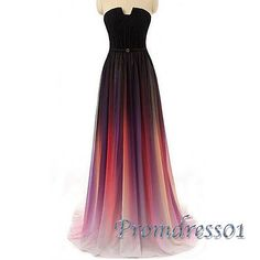 Gradient ombre chiffon prom dress for teens, ball gown, prom dresses long #coniefox #2016prom