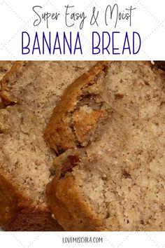 Easy Bread Recipes, Banana Bread Recipes, Cooking Recipes, Overripe Banana Recipes, Banana Bread Recipe With Two Bananas, Blueberry Bread Recipe Moist, 4 Ingredient Banana Bread Recipe, Easy Bread Loaf Recipe, Best Moist Zucchini Bread Recipe