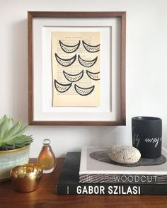 """Abstract ink drawing wall art on vintage book page. Fits 8""""x10"""" or 5""""x7"""" frame. by LoriHarrison on Etsy"""
