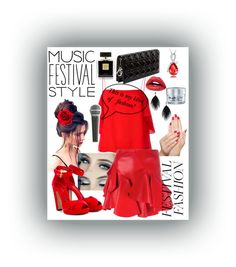 """Music festival wear🌹"" by fluffycocoa on Polyvore featuring Fendi, Alexander McQueen, Piggy Paint, Avon, GlamGlow and Pyle"