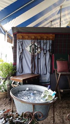 Love this setup! 2014 Upperville Tack Room Contest: Daisy Fields Farm serving it up, via Horse Country